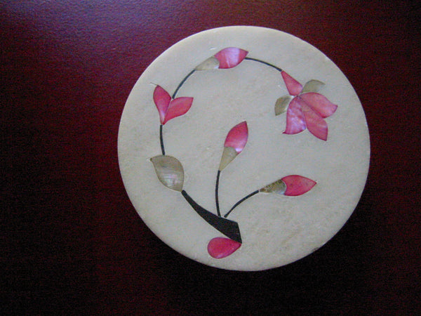 Pietra Dura Alabaster Box Inlaid Pink Mother Of Pearl Stem Flowers - Designer Unique Finds