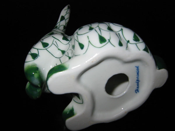 Herend Style Green White Hand Painted Porcelain Rabbit Figurine - Designer Unique Finds   - 5
