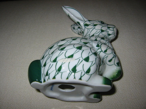 Herend Style Green White Hand Painted Porcelain Rabbit Figurine - Designer Unique Finds   - 4