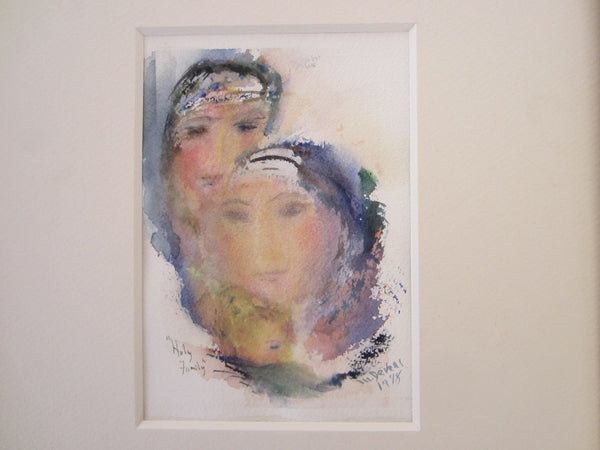 Mari Devers Watercolor Contemporary Portrait Huly Family - Designer Unique Finds