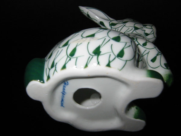 Herend Style Green White Hand Painted Porcelain Rabbit Figurine - Designer Unique Finds   - 2