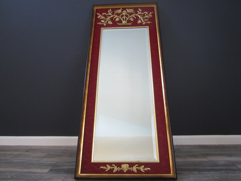 La Barge Baroque Style Red Fabric Gold Ornate Beveled Floor Mirror - Designer Unique Finds