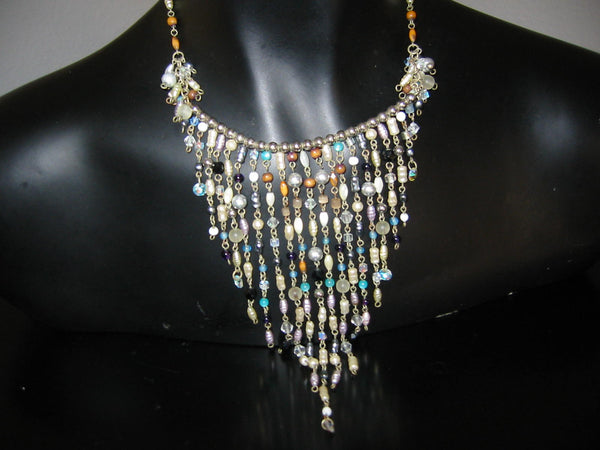Folk Art Choker Necklace Fresh Water Pearls Wire Drops - Designer Unique Finds   - 4