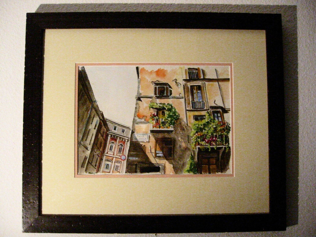 Piazza Pollarola City View Impressionist Italian Signed Watercolor - Designer Unique Finds