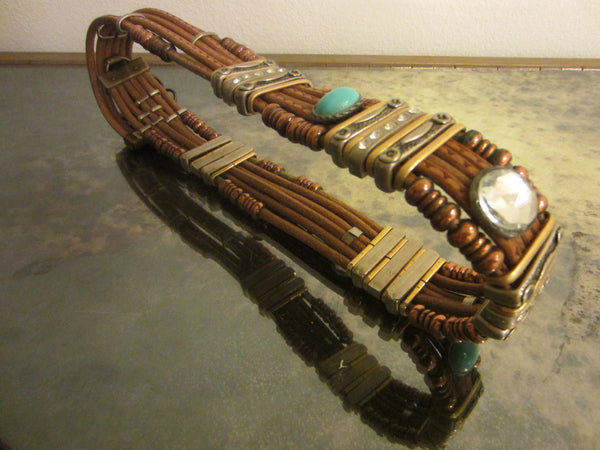 Tribal Tan Leather Belt Turquoise Rhinestone Cabochons Various Beads - Designer Unique Finds