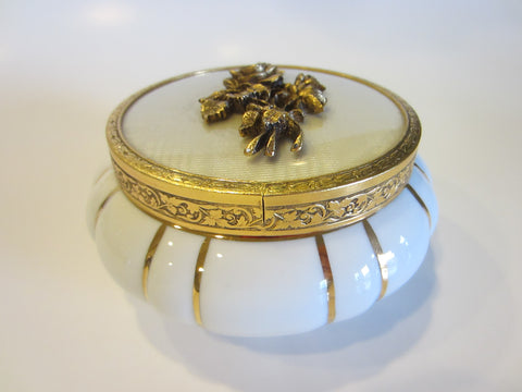 White Porcelain Matson Powder Jar Bronze Rose Bouquet Medallion Cover Gold Stripes - Designer Unique Finds