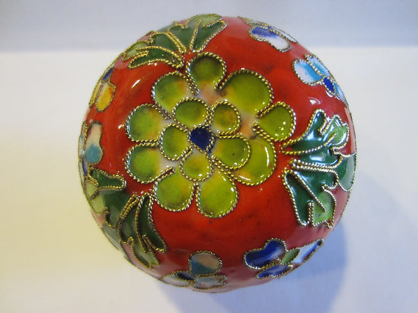 Oriental Stem Enameled Red Apple Box Decorated Flowers Butterflies