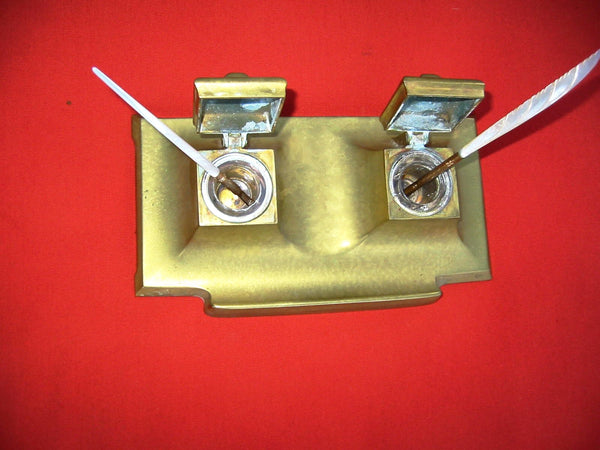 Art Deco Brass Inkstands Double Glass Inserts - Designer Unique Finds   - 1