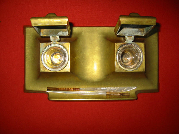 Art Deco Brass Inkstands Double Glass Inserts - Designer Unique Finds   - 3