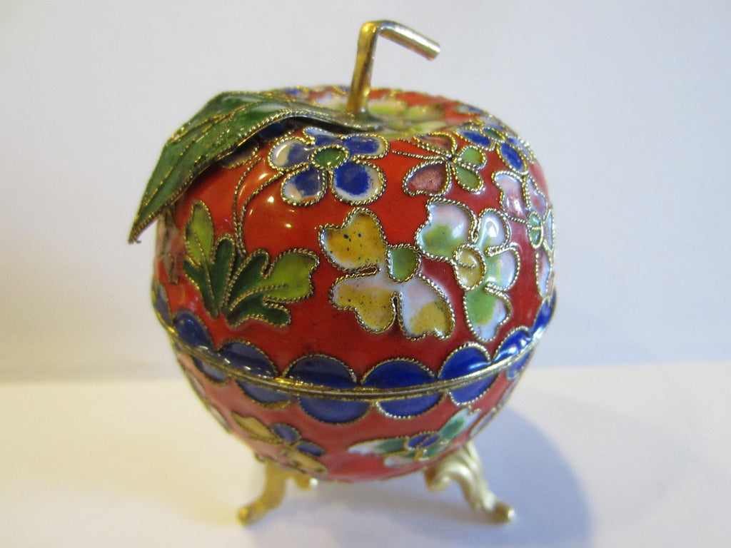 Oriental Stem Enameled Red Apple Box Decorated Flowers Butterflies - Designer Unique Finds