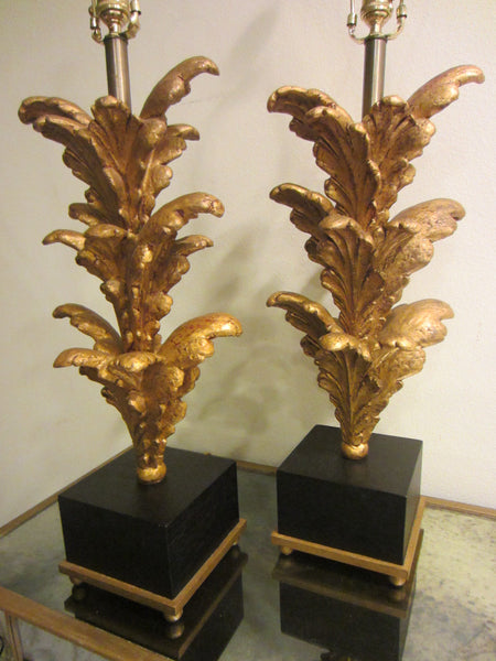Composition Gold Acanthus Leaf Modern Lamps - Designer Unique Finds   - 2