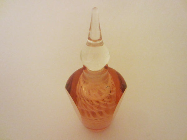 Abstract Hand Cut Crystal Perfume Bottle Clear Dome Stopper