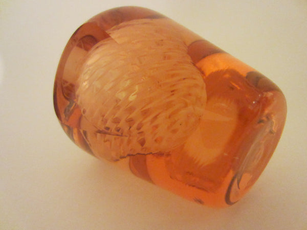 Abstract Rose Hand Cut Crystal Perfume Bottle Clear Dome Stopper