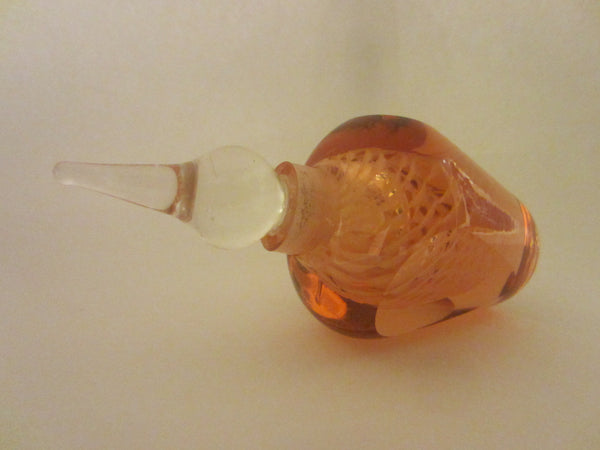 Champagne Rose Hand Cut Glass Perfume Bottle Abstract Encased