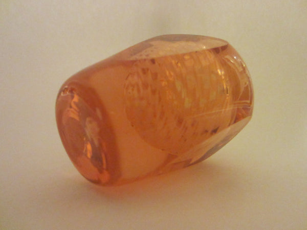 Champagne Rose Hand Cut Glass Perfume Bottle Abstract Encased - Designer Unique Finds