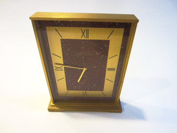 Le Coultre Swiss Brass 8 Day Winding Desk Clock Red Dial - Designer Unique Finds