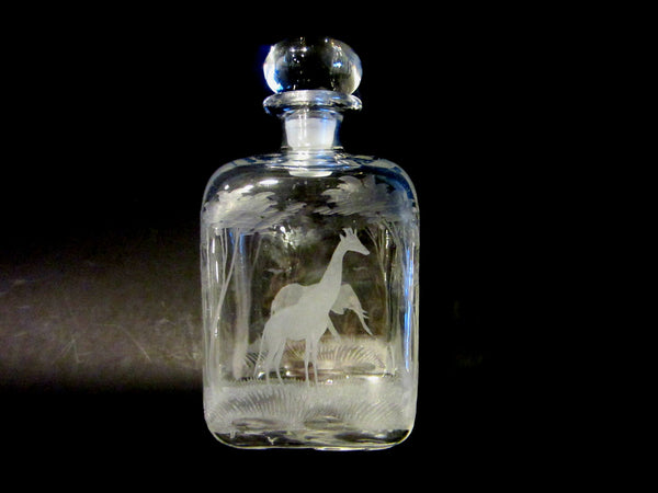 A Glass Decanter Hand Etched Elephant Giraffe Jungle Animals Numbered