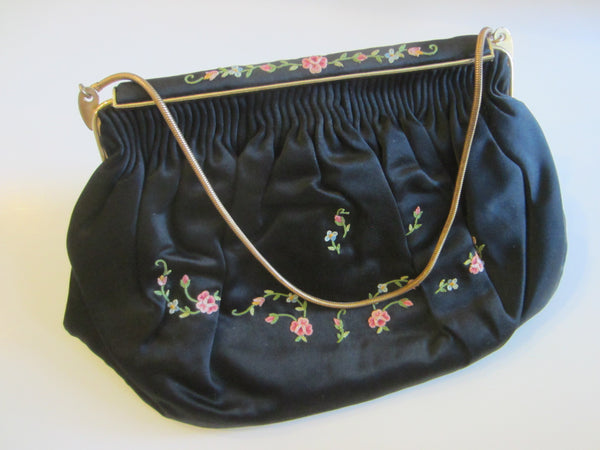 French Black Satin Evening Purse Floral Embroidery Golden Chain - Designer Unique Finds