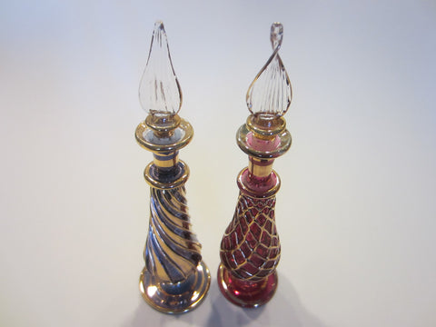 Spiral Gold Art Glass Perfume Bottles Decorated Pink Purple Dome Stopper - Designer Unique Finds