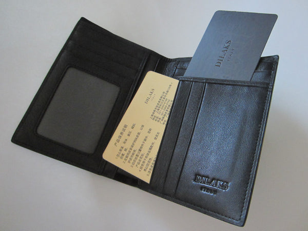 Dilak Billfold Wallet Made in Italy Genuine Vegetable Black Leather - Designer Unique Finds   - 7