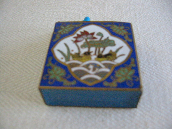 Cloisonne Match Holder Floral Enameling Center Medallion - Designer Unique Finds   - 2