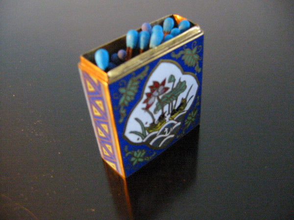 Cloisonne Match Holder Floral Enameling Center Medallion - Designer Unique Finds   - 1