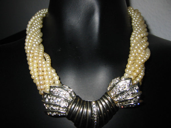 Torsade Statement Necklace Seed Pearls Rhinestones Two Tone Clasp - Designer Unique Finds   - 1