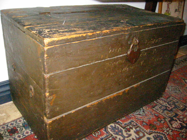 Primitive Wood Blanket Chest Metal Heart Padlock American Trunk - Designer Unique Finds   - 1