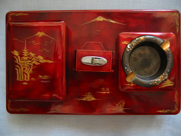 Chinoiserie Red Lacquered Figurative Dutch Music Box Smoking Set - Designer Unique Finds   - 1