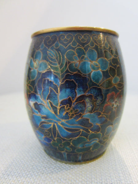 Asian Cloisonne Candle Holders Suite Enameled Lotus Blossoming - Designer Unique Finds   - 7