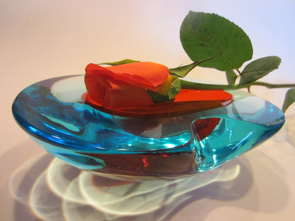 Murano Style Blue Art Glass Red Accent Decorative Oblong Dish