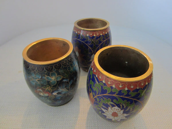 Asian Cloisonne Brass Candle Holders Set Enameled Lotus Blossoming