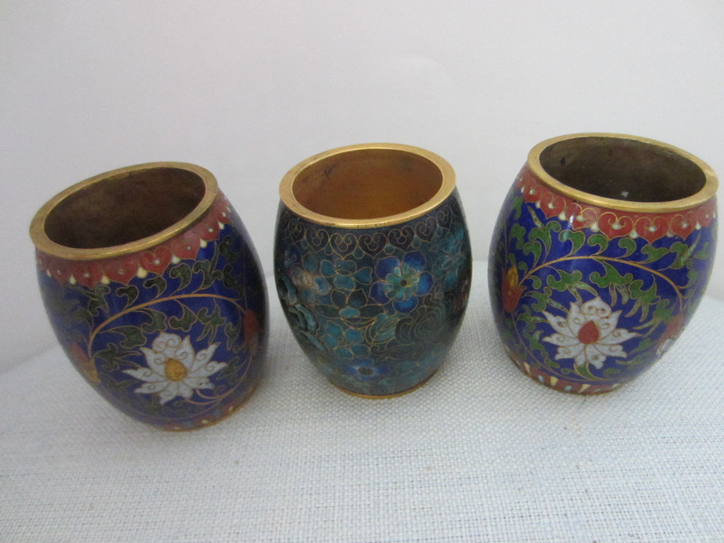 Asian Cloisonne Candle Holders Suite Enameled Lotus Blossoming - Designer Unique Finds   - 1