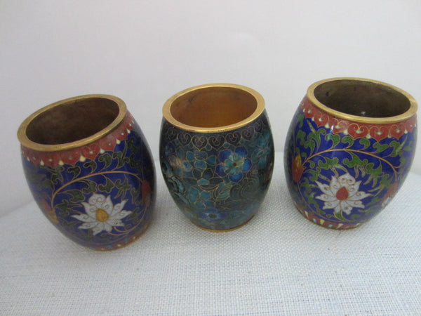 Asian Cloisonne Candle Holders Suite Enamel Lotus Blossoming - Designer Unique Finds