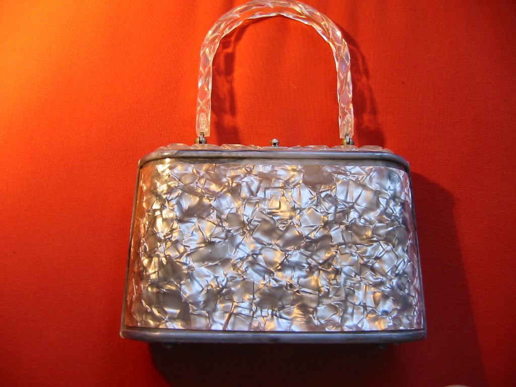 Lucite Retro Purse Pearl Style Gray Silver Cover Clear Decorated Handle - Designer Unique Finds   - 1