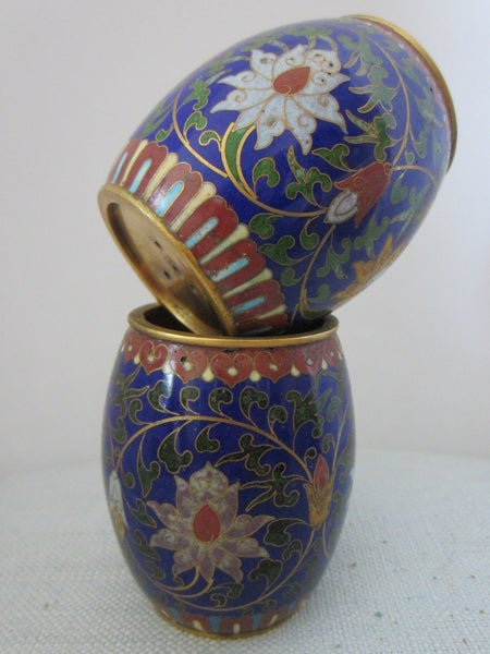 Asian Cloisonne Candle Holders Suite Enameled Lotus Blossoming - Designer Unique Finds   - 4
