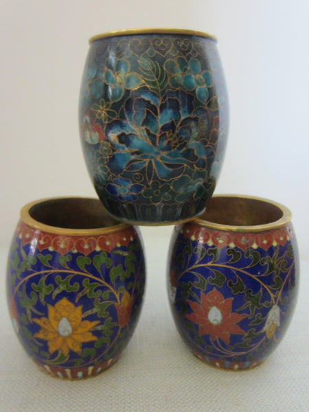 Asian Cloisonne Candle Holders Suite Enameled Lotus Blossoming - Designer Unique Finds   - 3