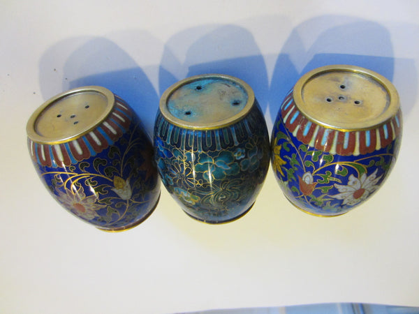 Asian Cloisonne Candle Holders Suite Enameled Lotus Blossoming - Designer Unique Finds   - 2