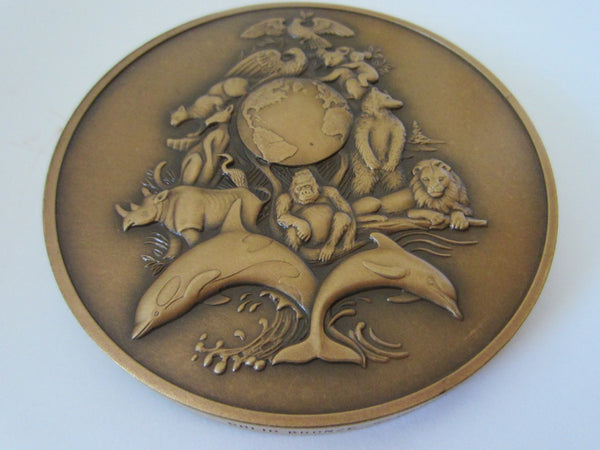 The Franklin Mint Solid Bronze Annual Calendar Art Medal Wild Animal Decoration - Designer Unique Finds