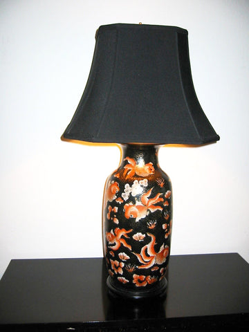 Asian Chinoiserie Porcelain Lamp Baluster Vase - Designer Unique Finds   - 1