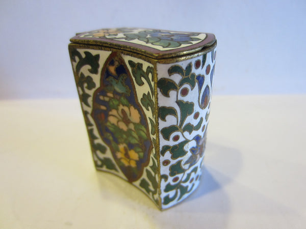 Asian Cloisonne Match Box Decorated Enamel Medallion Over Brass - Designer Unique Finds