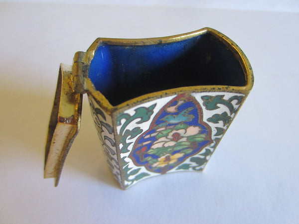 Asian Cloisonne Match Box Decorated Enamel Medallion Over Brass