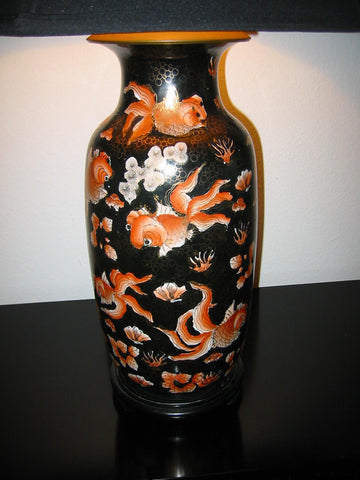Asian Chinoiserie Porcelain Lamp Baluster Vase - Designer Unique Finds   - 3