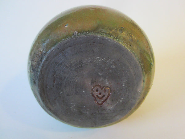 A Folk Art Pottery Vase Signed With Heart And Smile