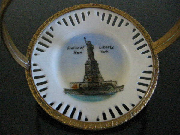Schuman Bavaria Liberty Statute Painted Bowl Pierced Brass Basket - Designer Unique Finds   - 3