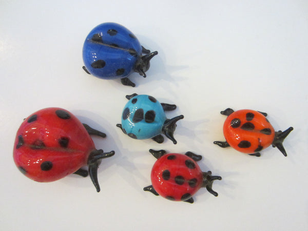 Art Glass Group of Five Miniature Colored Lady Bugs - Designer Unique Finds