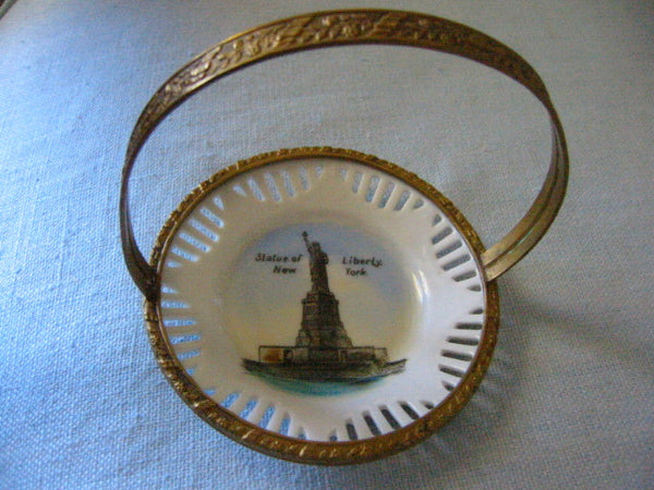 Schuman Bavaria Liberty Statute Painted Bowl Pierced Brass Basket - Designer Unique Finds   - 4