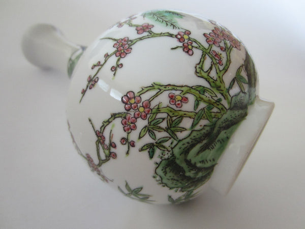 Japan Bottle Shaped Cherry Blossom Flower Vase Decorated Enamel Birds Marked - Designer Unique Finds