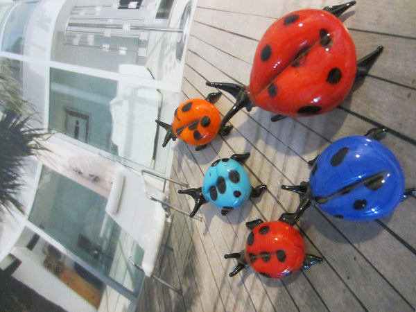 Art Glass Group of Five Miniature Colored Lady Bugs