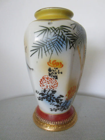Western Germany Aerozon Original Moriage Style Hand Painted Baluster Vase - Designer Unique Finds